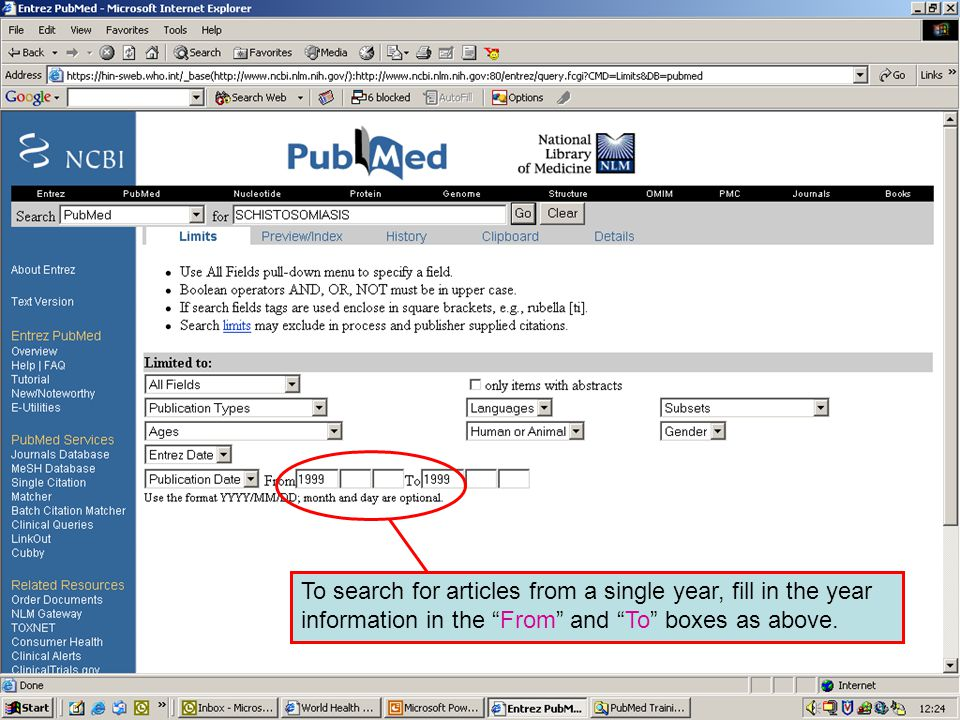 Publication date 6 To search for articles from a single year, fill in the year information in the From and To boxes as above.