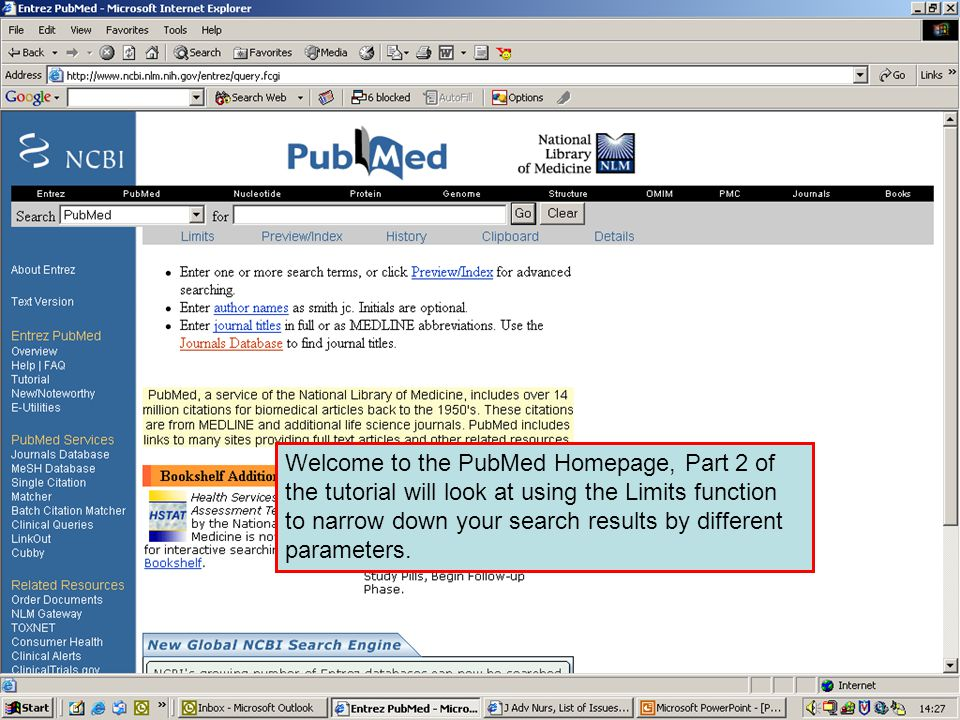 PubMed query box If you type in a search statement such as Tuberculosis in the query box you will get many records in your results.