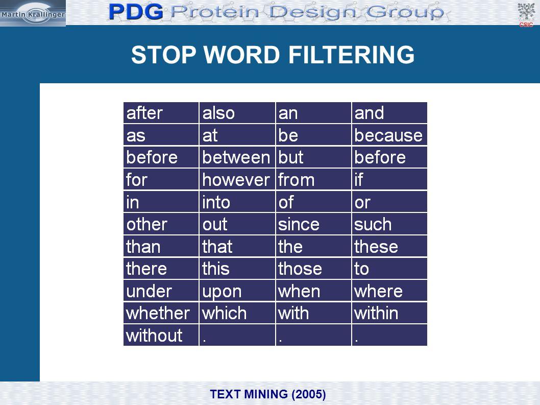 STOP WORD FILTERING Domain, e.g. Biomedicine/ Molecular Biology TEXT MINING (2005)