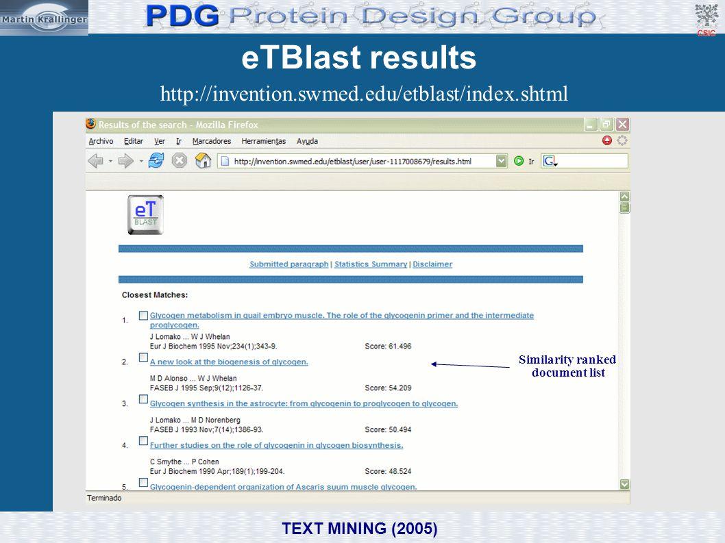 eTBlast results http://invention.swmed.edu/etblast/index.shtml Similarity ranked document list TEXT MINING (2005)