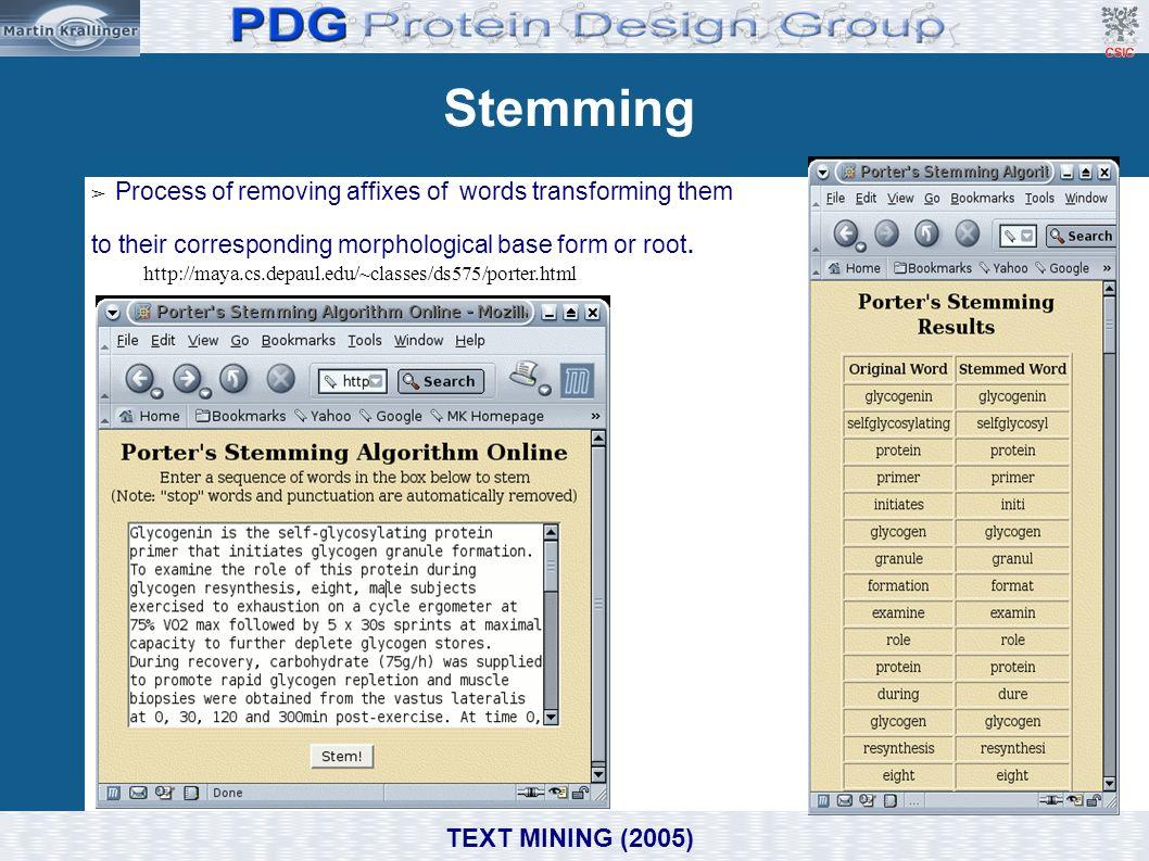 Stemming ➢ Process of removing affixes of words transforming them to their corresponding morphological base form or root. http://maya.cs.depaul.edu/~c