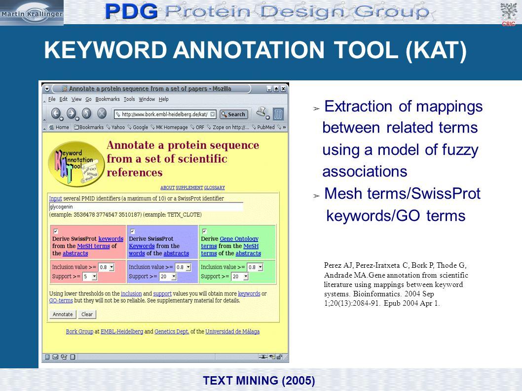 KEYWORD ANNOTATION TOOL (KAT) Perez AJ, Perez-Iratxeta C, Bork P, Thode G, Andrade MA.Gene annotation from scientific literature using mappings betwee