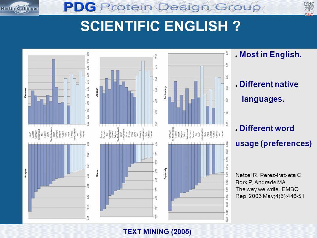 SCIENTIFIC ENGLISH ? ● Most in English. ● Different native languages. ● Different word usage (preferences) Netzel R, Perez-Iratxeta C, Bork P, Andrade