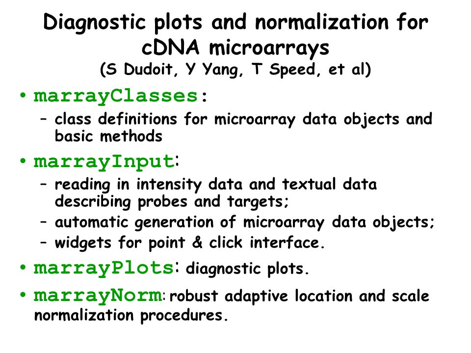 Diagnostic plots and normalization for cDNA microarrays (S Dudoit, Y Yang, T Speed, et al) marrayClasses: –class definitions for microarray data objec