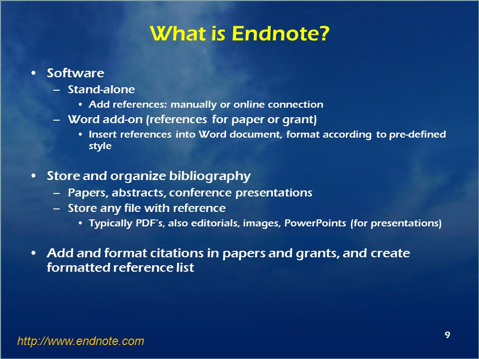30 Tips - General To open Endnote with word (or not), Cite while you write preferences If someone sends you a Word file with Endnote-generated bibliography, you can download the references into a library on your computer (Export Travelling Library); however, these do not include file attachments.