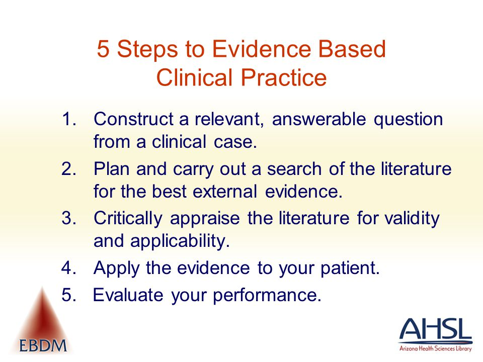 5 Steps to Evidence Based Clinical Practice 1.Construct a relevant, answerable question from a clinical case.