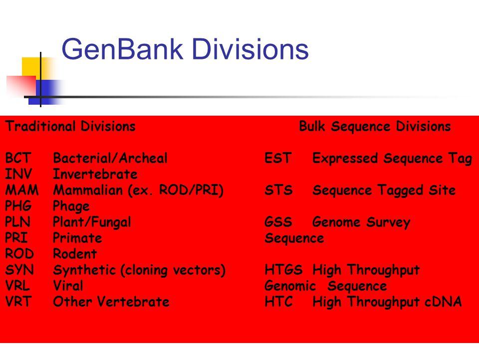 GenBank Divisions Traditional Divisions BCTBacterial/Archeal INVInvertebrate MAMMammalian (ex.