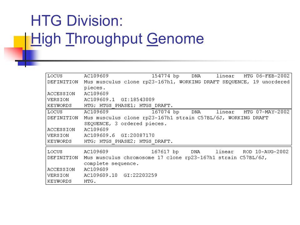 HTG Division: High Throughput Genome