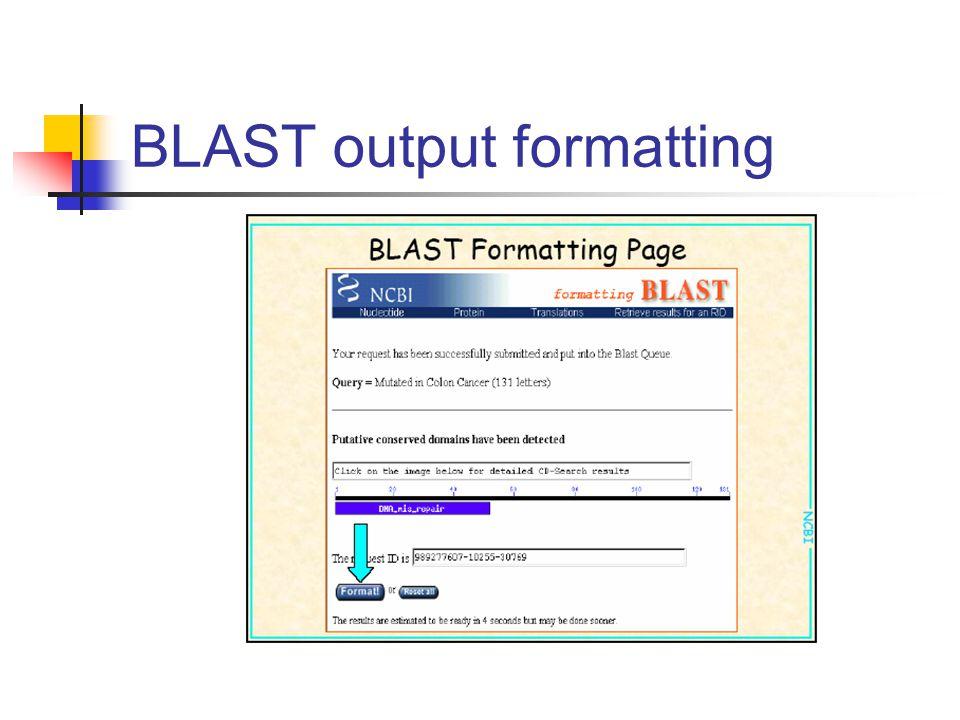 BLAST output formatting