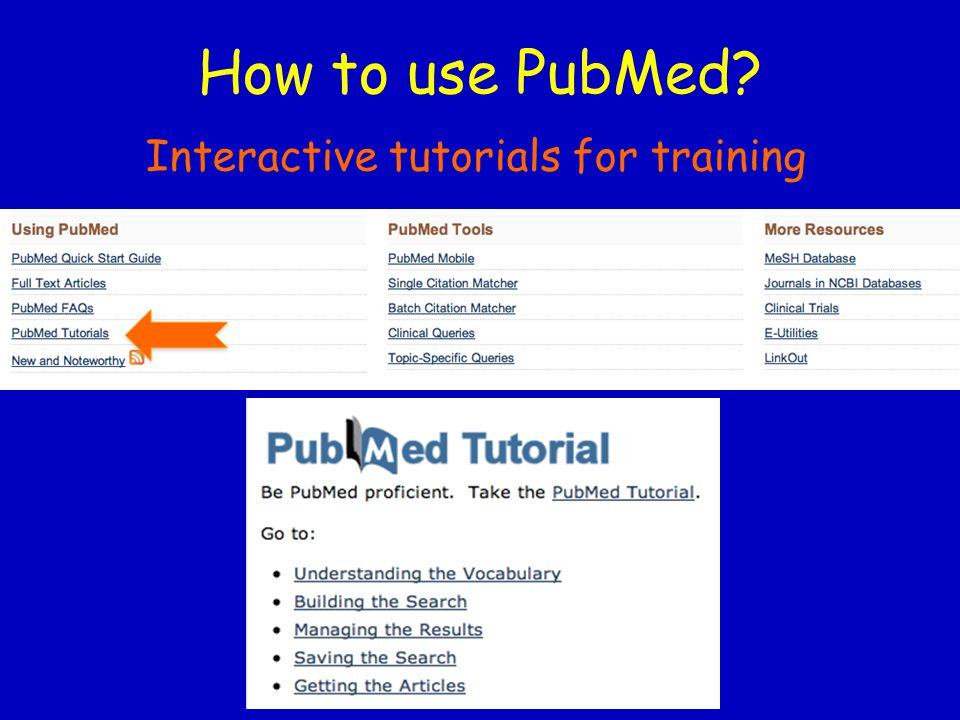 How to use PubMed? Interactive tutorials for training