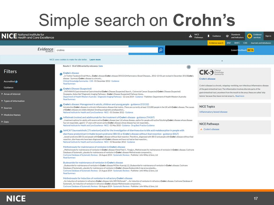 Simple search on Crohn's 17
