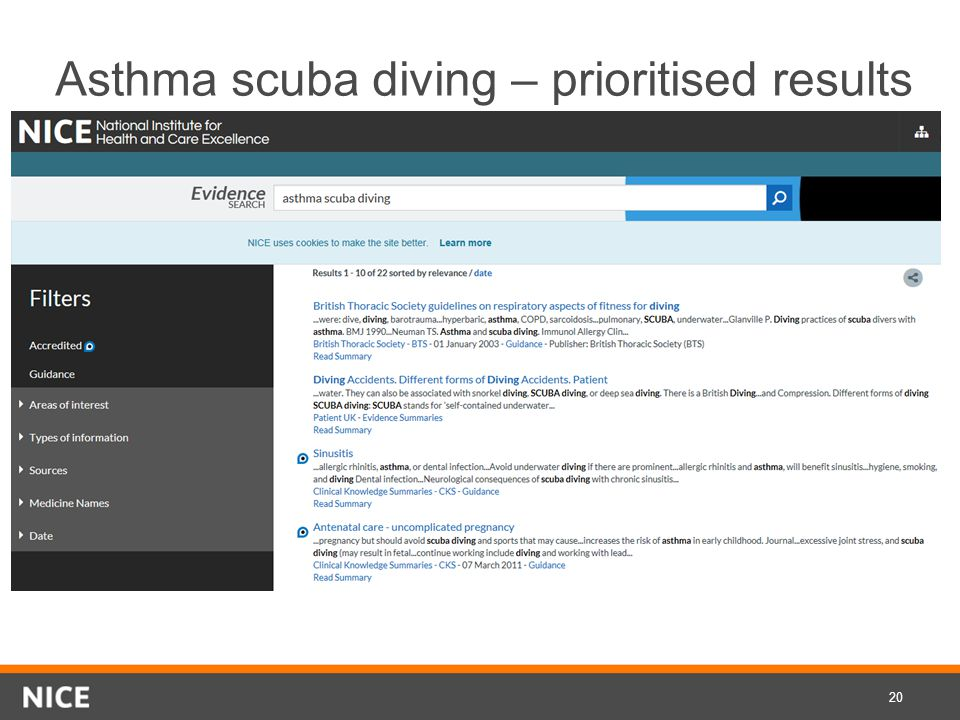 Asthma scuba diving – prioritised results 20