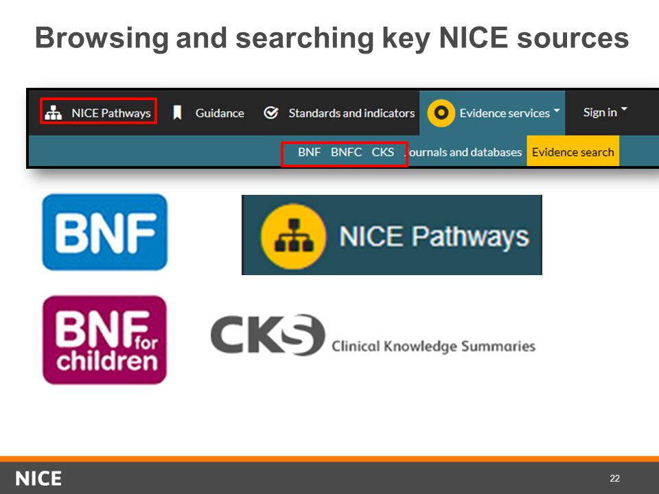 Browsing and searching key NICE sources Browsing key 22