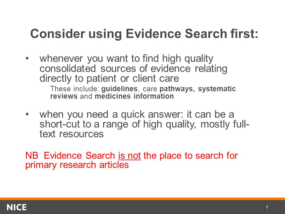 Evidence search www.evidence.nhs.uk www.evidence.nhs.uk 8
