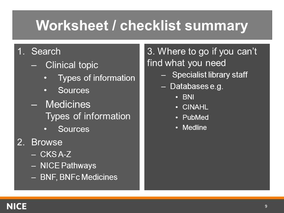 Worksheet / checklist summary 1.Search –Clinical topic Types of information Sources –Medicines Types of information Sources 2.Browse –CKS A-Z –NICE Pathways –BNF, BNFc Medicines 3.