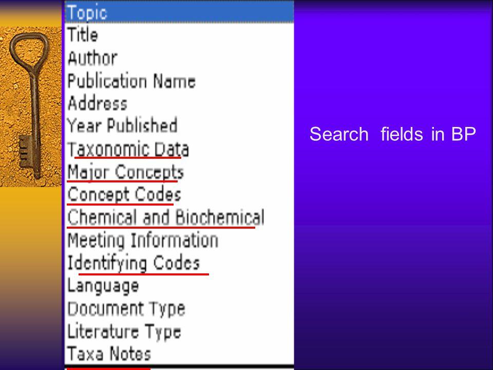 Search fields in BP