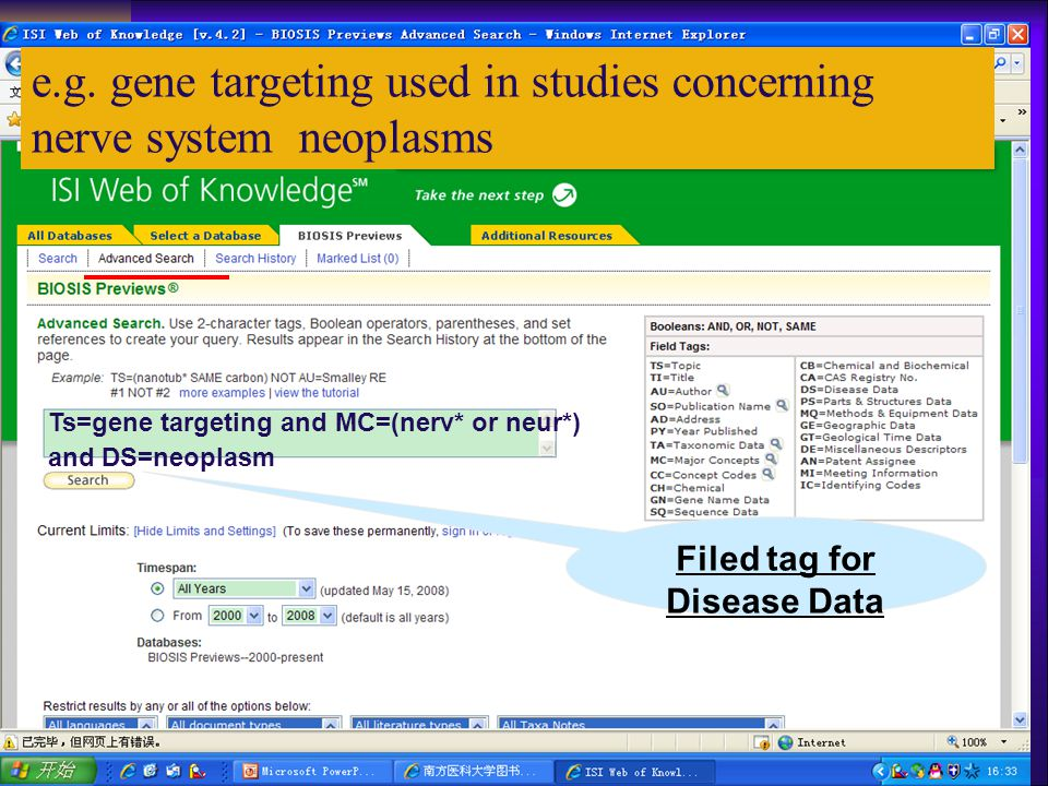 Ts=gene targeting and MC=(nerv* or neur*) and DS=neoplasm e.g.