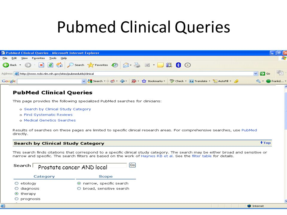 Pubmed Clinical Queries Prostate cancer AND local