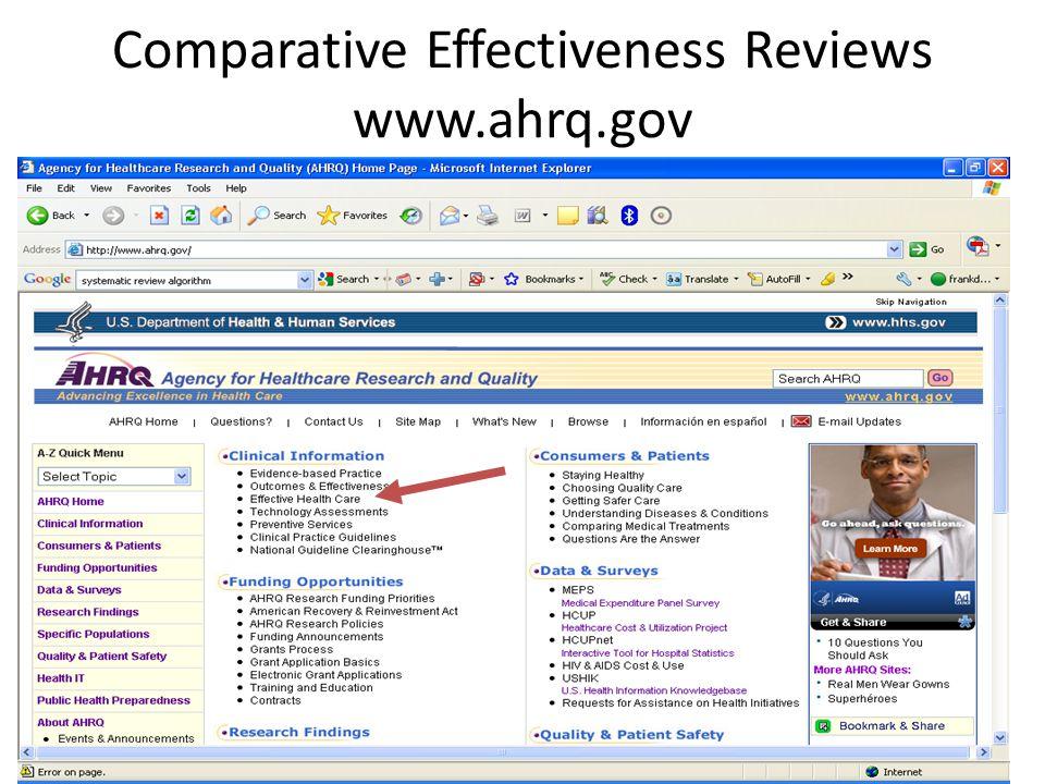 Comparative Effectiveness Reviews www.ahrq.gov