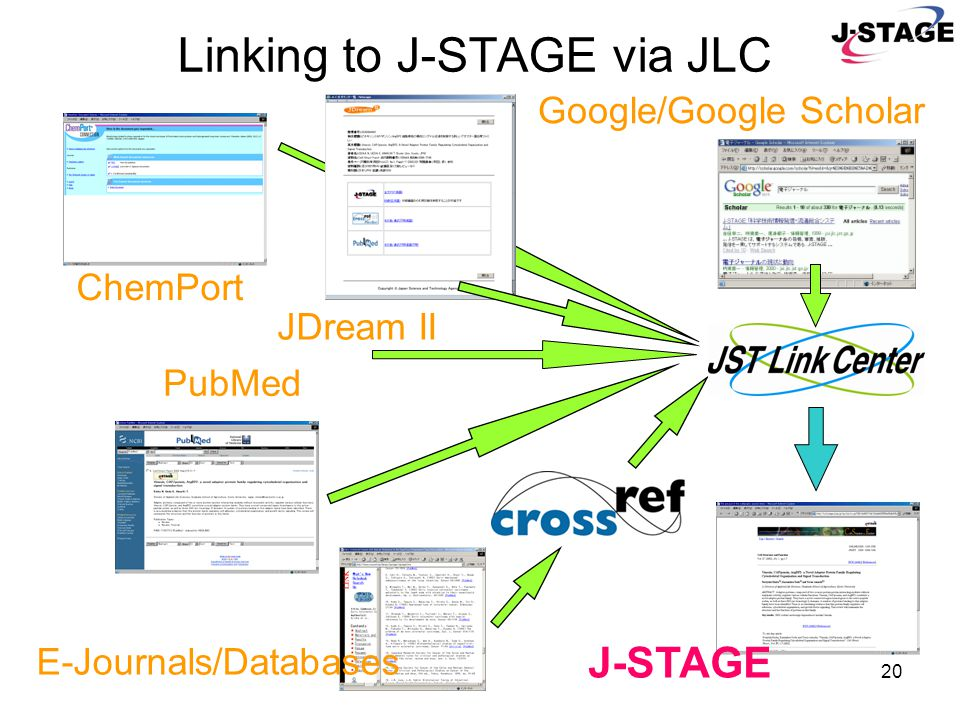 20 Linking to J-STAGE via JLC ChemPort PubMed E-Journals/Databases JDream II Google/Google Scholar J-STAGE