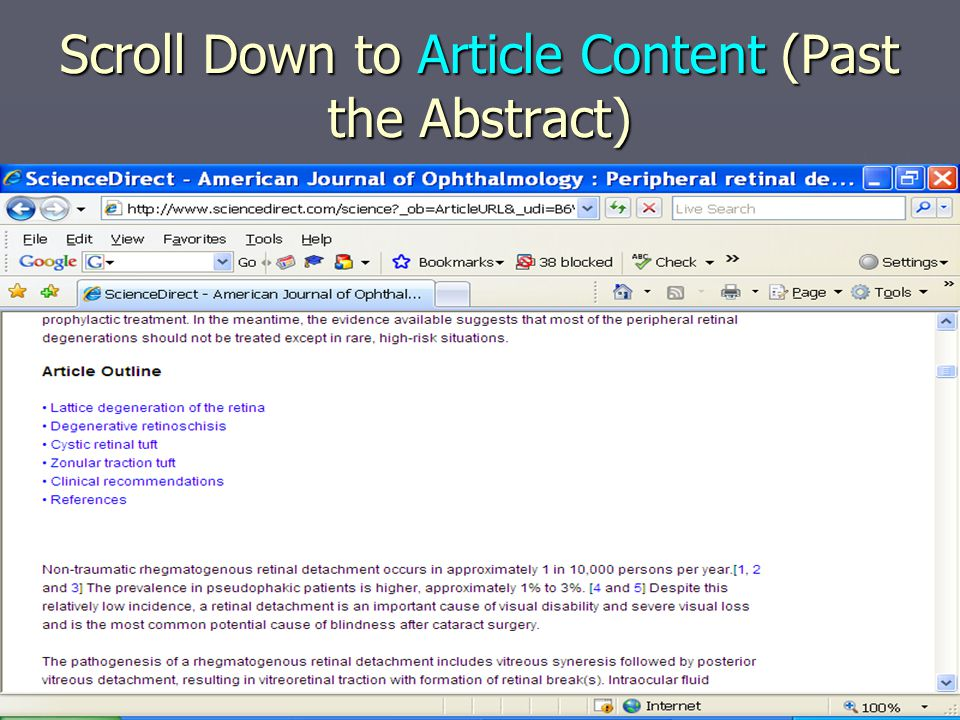 Scroll Down to Article Content (Past the Abstract)