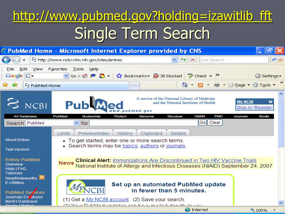 http://www.pubmed.gov?holding=izawitlib_fft http://www.pubmed.gov?holding=izawitlib_fft Single Term Search http://www.pubmed.gov?holding=izawitlib_fft