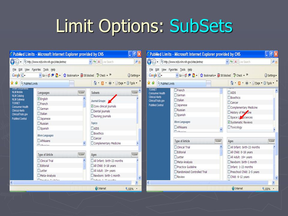 Limit Options: SubSets