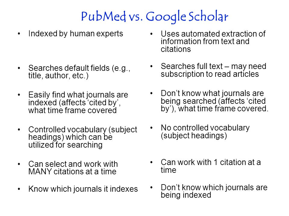 PubMed vs.