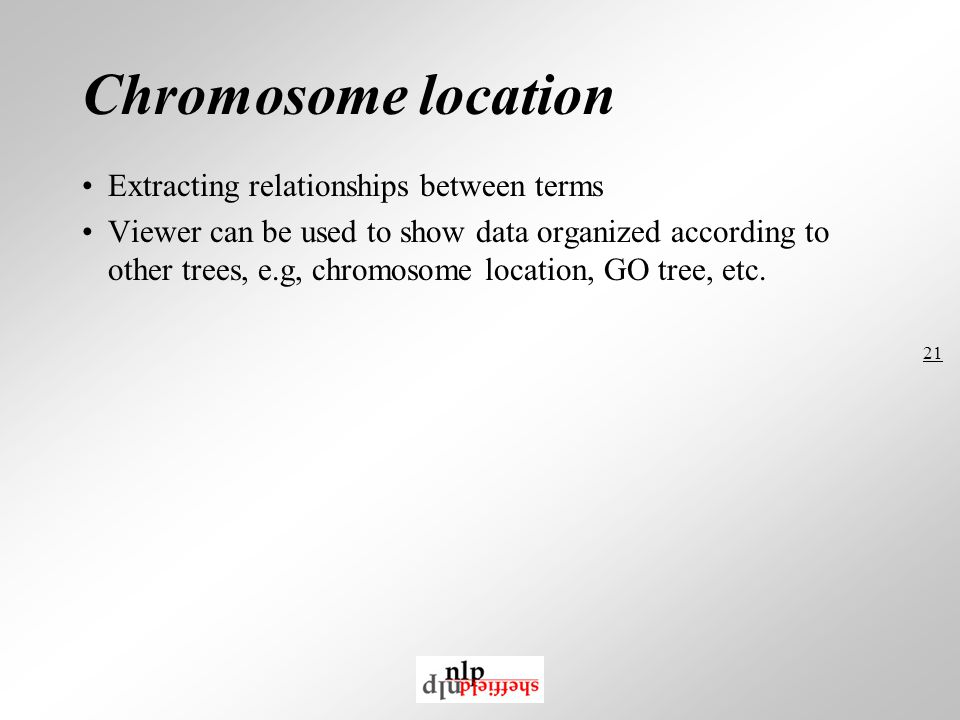 21 Chromosome location Extracting relationships between terms Viewer can be used to show data organized according to other trees, e.g, chromosome location, GO tree, etc.