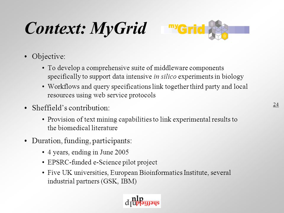 24 Context: MyGrid Objective: To develop a comprehensive suite of middleware components specifically to support data intensive in silico experiments in biology Workflows and query specifications link together third party and local resources using web service protocols Sheffield's contribution: Provision of text mining capabilities to link experimental results to the biomedical literature Duration, funding, participants: 4 years, ending in June 2005 EPSRC-funded e-Science pilot project Five UK universities, European Bioinformatics Institute, several industrial partners (GSK, IBM)