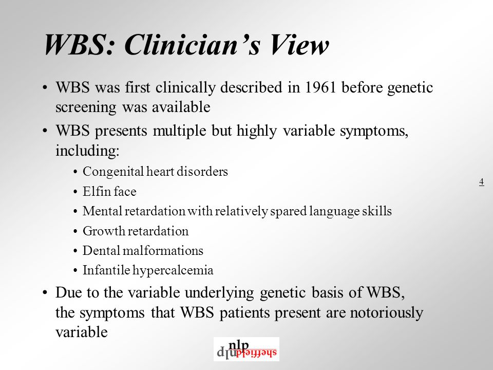 4 WBS: Clinician's View WBS was first clinically described in 1961 before genetic screening was available WBS presents multiple but highly variable symptoms, including: Congenital heart disorders Elfin face Mental retardation with relatively spared language skills Growth retardation Dental malformations Infantile hypercalcemia Due to the variable underlying genetic basis of WBS, the symptoms that WBS patients present are notoriously variable