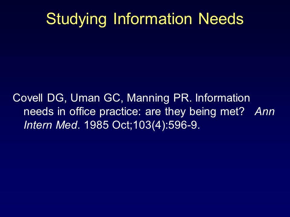 Studying Information Needs Covell DG, Uman GC, Manning PR.