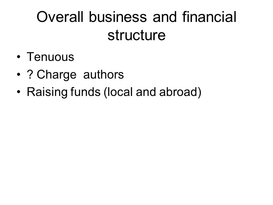 Overall business and financial structure Tenuous ? Charge authors Raising funds (local and abroad)