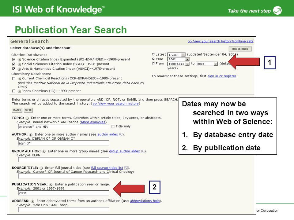5 Publication Year Search Dates may now be searched in two ways within Web of Science: 1.By database entry date 2.By publication date 1 2