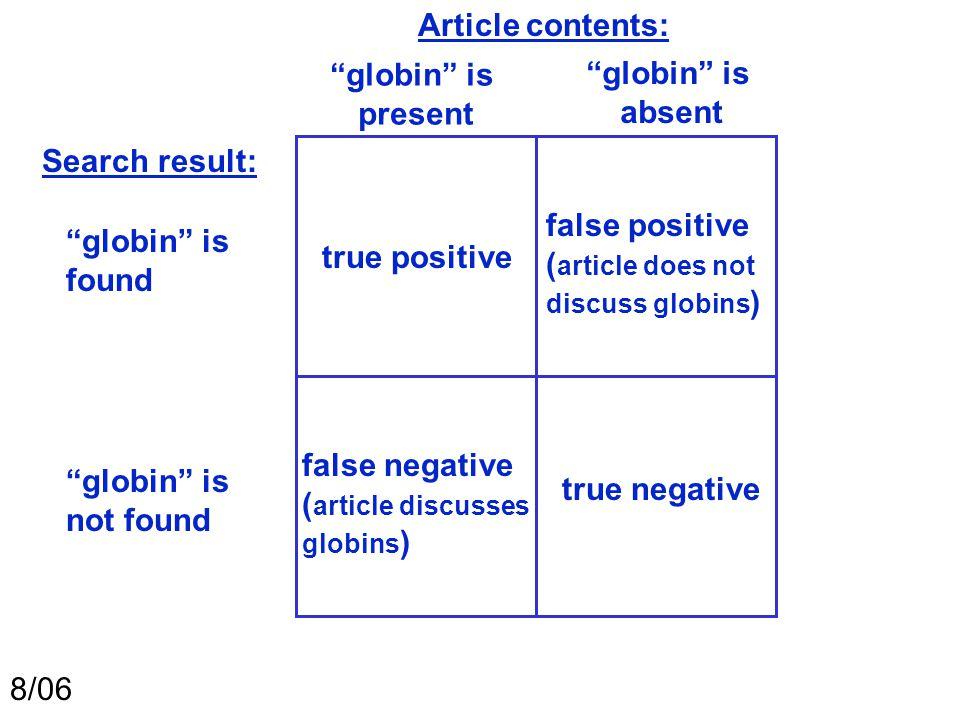 """true positive """"globin"""" is found 8/06 """"globin"""" is not found """"globin"""" is present """"globin"""" is absent Article contents: Search result: true negative false"""