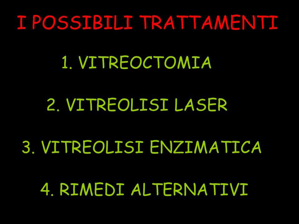 I POSSIBILI TRATTAMENTI 1. VITREOCTOMIA 2. VITREOLISI LASER 3.