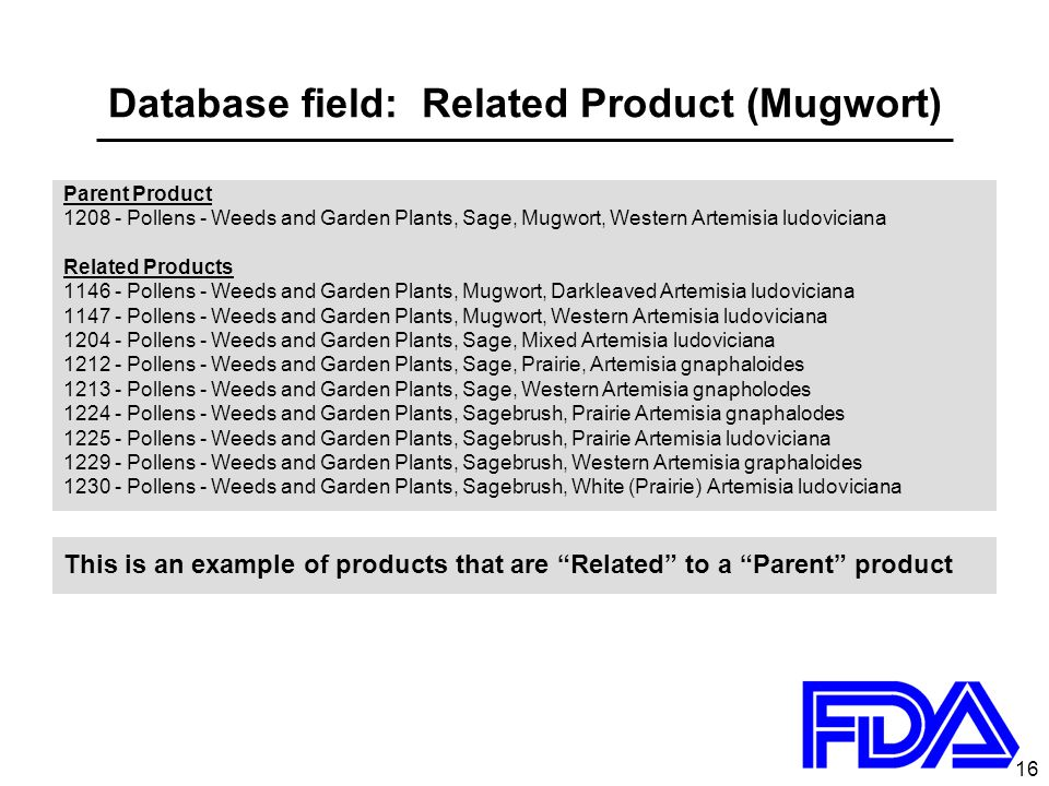 16 Database field: Related Product (Mugwort) Parent Product 1208 - Pollens - Weeds and Garden Plants, Sage, Mugwort, Western Artemisia ludoviciana Related Products 1146 - Pollens - Weeds and Garden Plants, Mugwort, Darkleaved Artemisia ludoviciana 1147 - Pollens - Weeds and Garden Plants, Mugwort, Western Artemisia ludoviciana 1204 - Pollens - Weeds and Garden Plants, Sage, Mixed Artemisia ludoviciana 1212 - Pollens - Weeds and Garden Plants, Sage, Prairie, Artemisia gnaphaloides 1213 - Pollens - Weeds and Garden Plants, Sage, Western Artemisia gnapholodes 1224 - Pollens - Weeds and Garden Plants, Sagebrush, Prairie Artemisia gnaphalodes 1225 - Pollens - Weeds and Garden Plants, Sagebrush, Prairie Artemisia ludoviciana 1229 - Pollens - Weeds and Garden Plants, Sagebrush, Western Artemisia graphaloides 1230 - Pollens - Weeds and Garden Plants, Sagebrush, White (Prairie) Artemisia ludoviciana This is an example of products that are Related to a Parent product