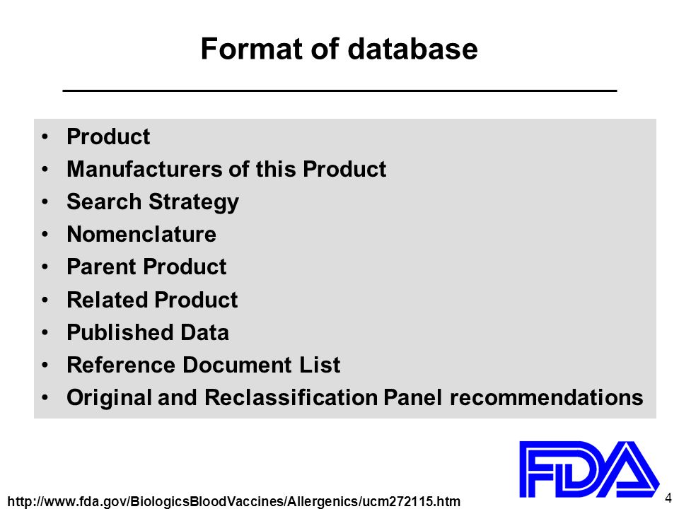 5 Format of database: Product Database entry number Product Category Product Name as listed in FDA files