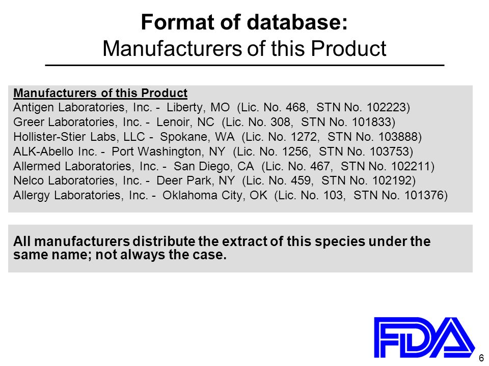6 Format of database: Manufacturers of this Product Manufacturers of this Product Antigen Laboratories, Inc. - Liberty, MO (Lic. No. 468, STN No. 1022