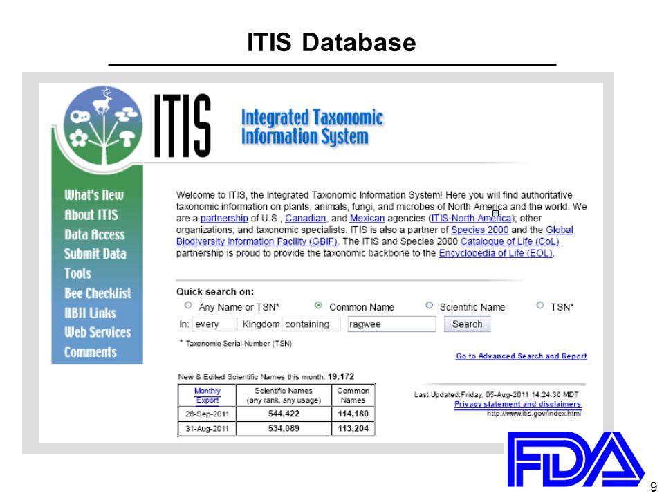 10 ITIS search on ragweed