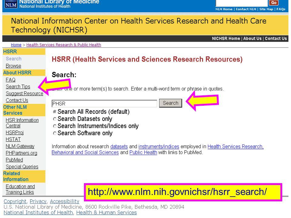HSRR (1) http://www.nlm.nih.govnichsr/hsrr_search/