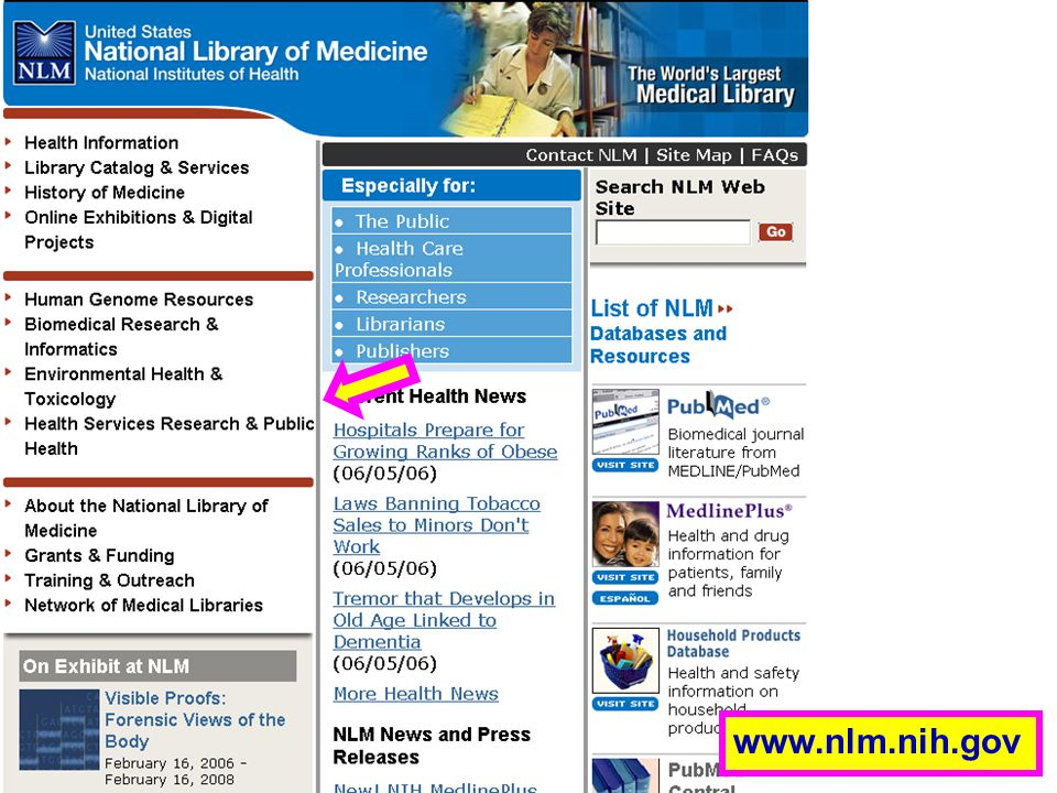 NLM Homepage www.nlm.nih.gov