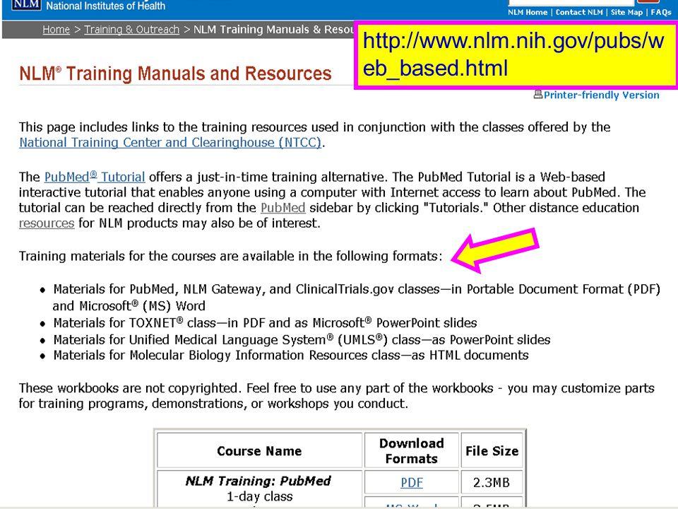 PubMed Training (2) http://www.nlm.nih.gov/pubs/w eb_based.html