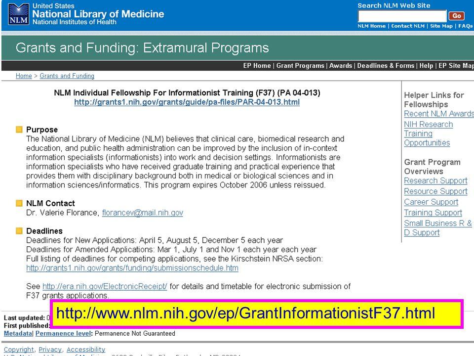 Informationist http://www.nlm.nih.gov/ep/GrantInformationistF37.html