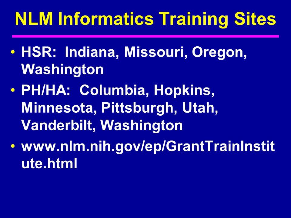 HSR: Indiana, Missouri, Oregon, Washington PH/HA: Columbia, Hopkins, Minnesota, Pittsburgh, Utah, Vanderbilt, Washington www.nlm.nih.gov/ep/GrantTrainInstit ute.html NLM Informatics Training Sites