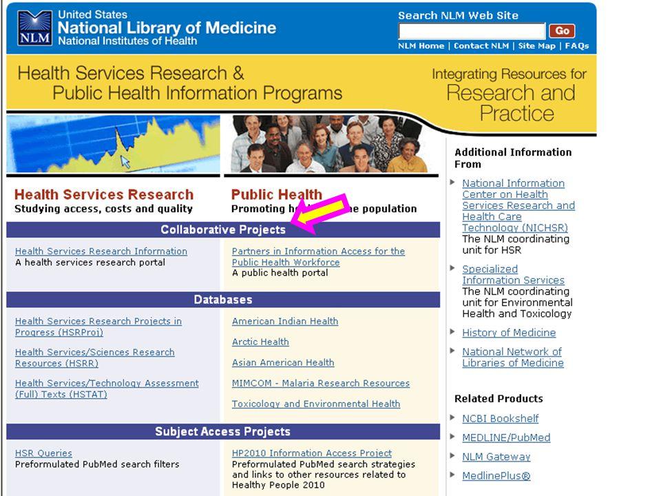 HSR & PH portal HSRProj, HSRR, HSTAT PubMed Central, PubMed Medline Plus Training and NNO What's new with…