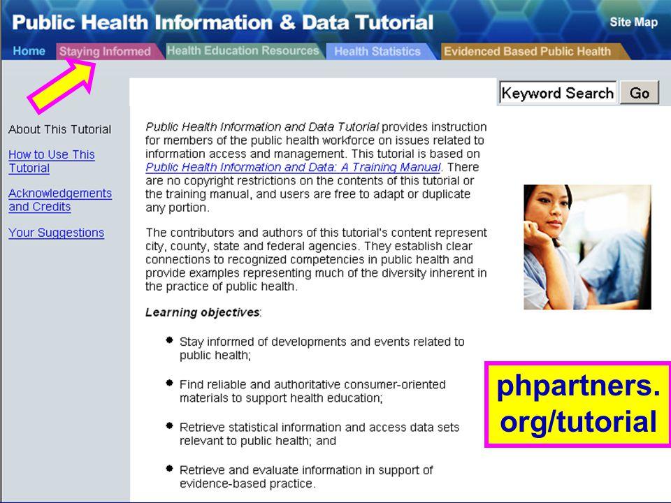 PH Info & Data Tutorial (1) phpartners. org/tutorial