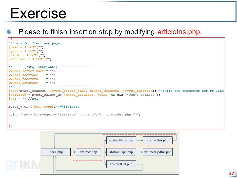 27 Exercise Please to finish insertion step by modifying articleIns.php.