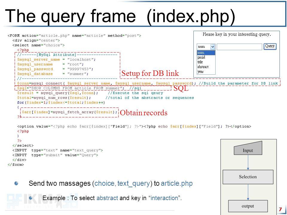 7 The query frame (index.php) Send two massages (choice, text_query) to article.php Example : To select abstract and key in interaction .
