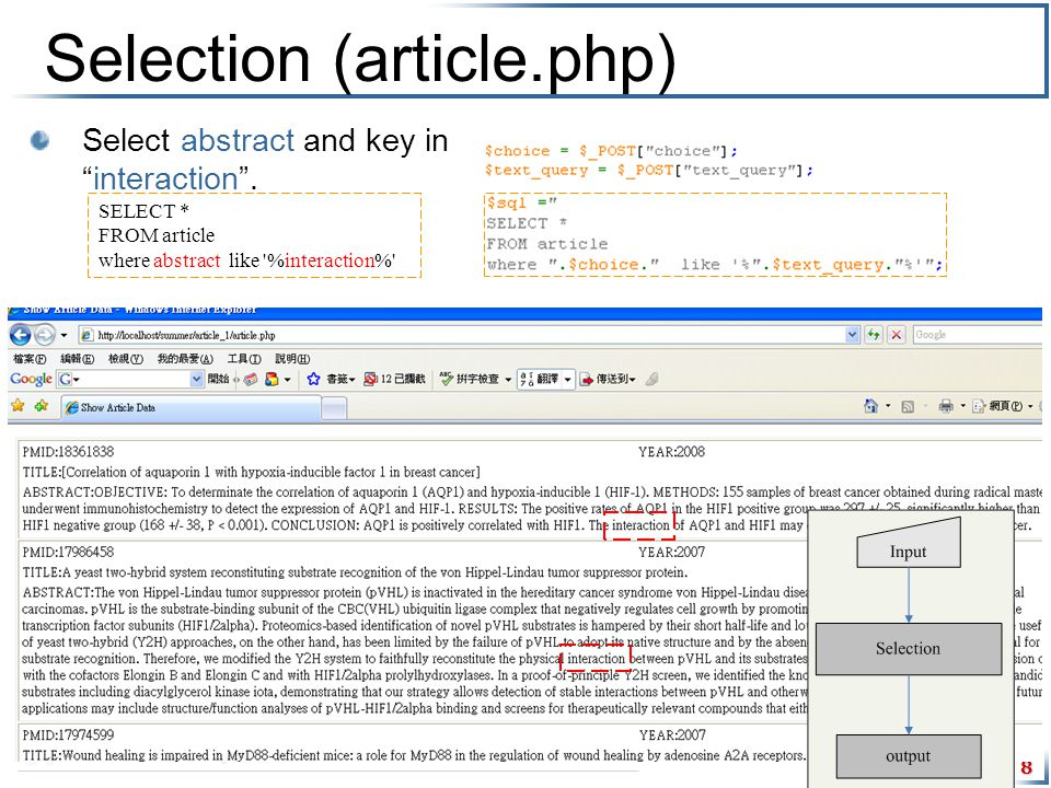 8 Selection (article.php) Select abstract and key in interaction .